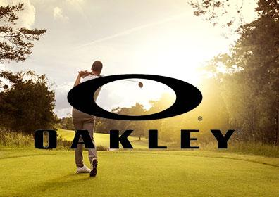 Man golfing with Oakley brand logo