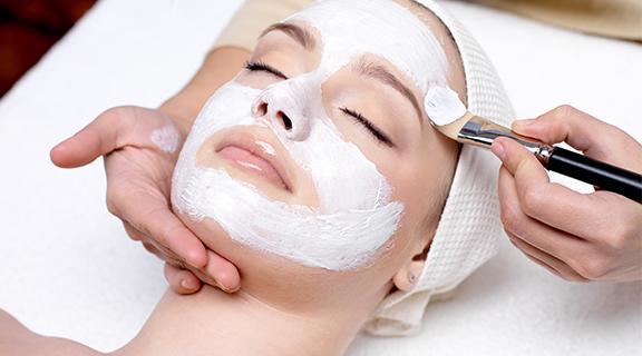 Woman getting facial
