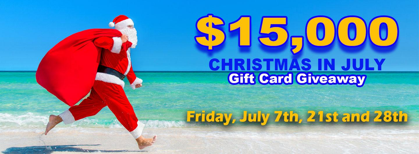 Man in Santa suit running down beach with sack over shoulder and event text