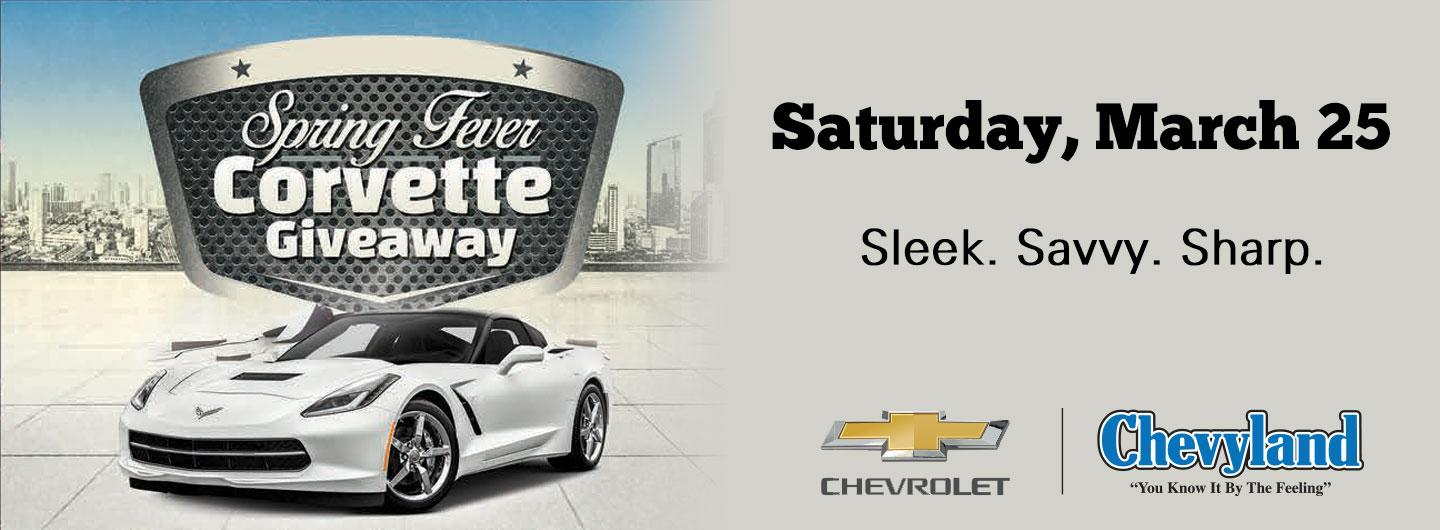 Corvette with city skyline in background with event text