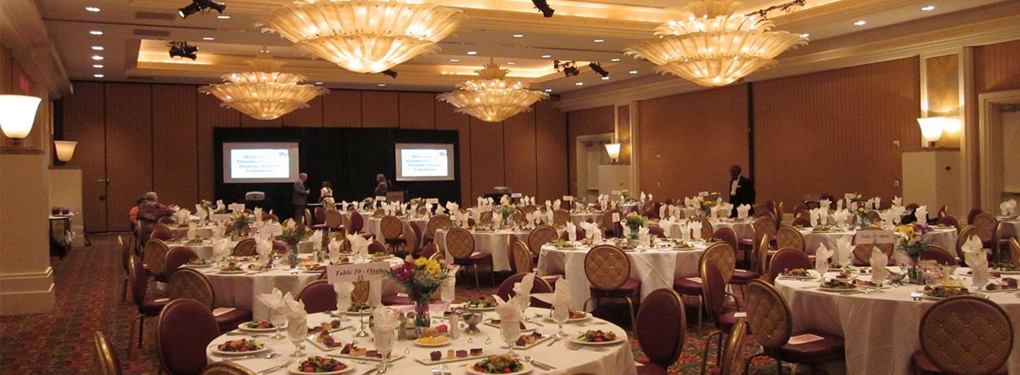 Ballroom set up for event luncheon