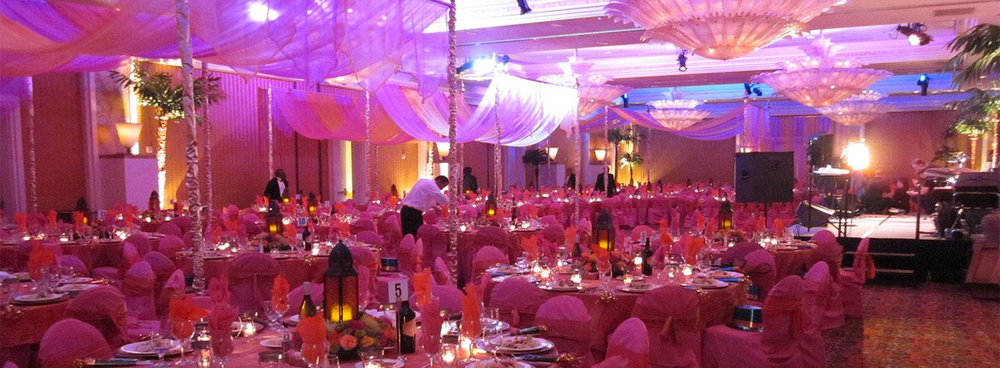Pink decor in ballrooom