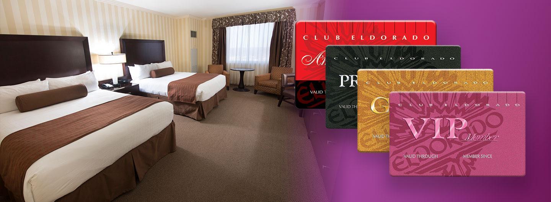Eldorado hotel room with Club Eldorado player's cards