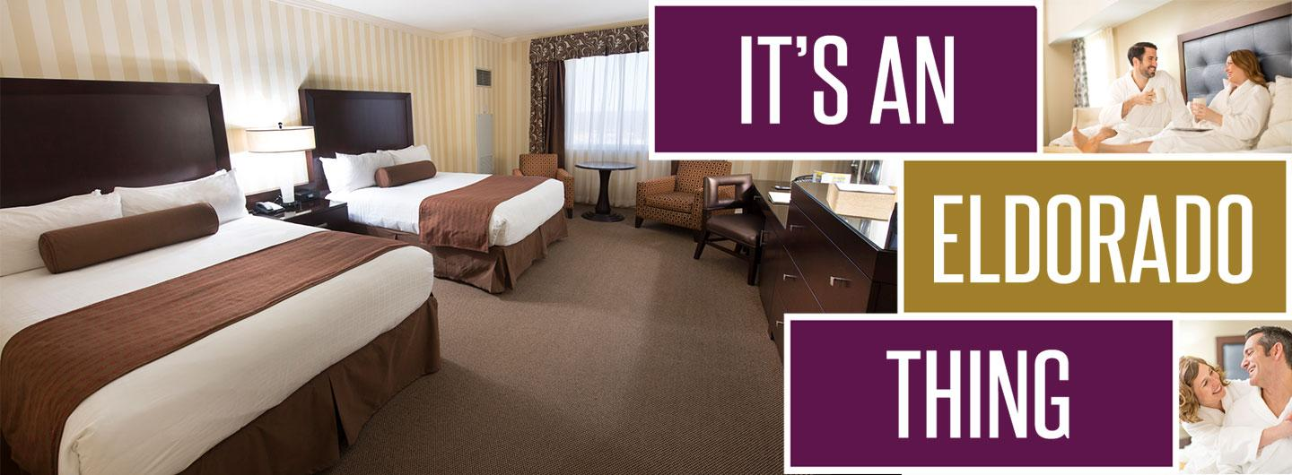 Guests in robes enjoying hotel room, blocks with text, and hotel room with two king-sized beds