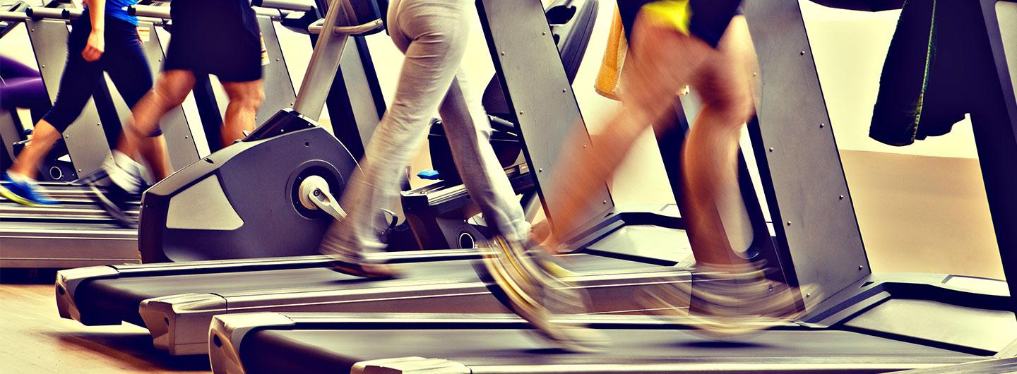 Legs moving on a treadmill