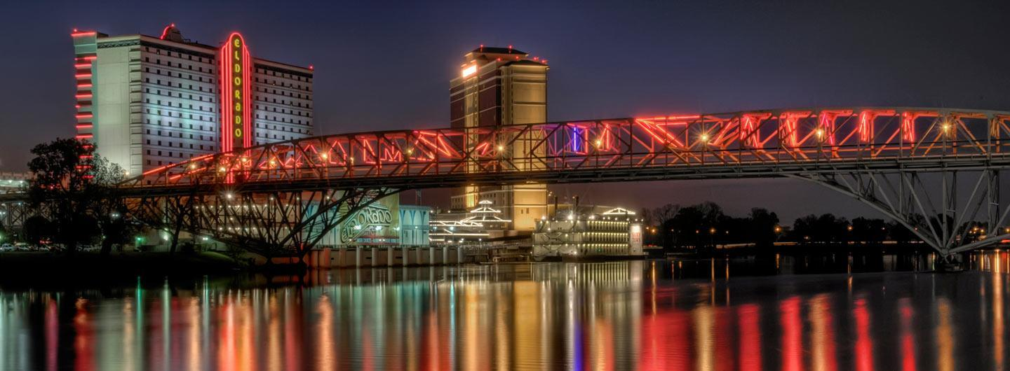 Shreveport Louisiana skyline with Eldorado Shreveport and Red River