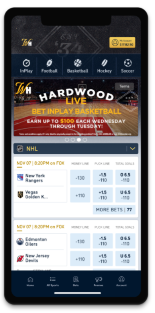 Mobile phone displaying William Hill Sports Betting app