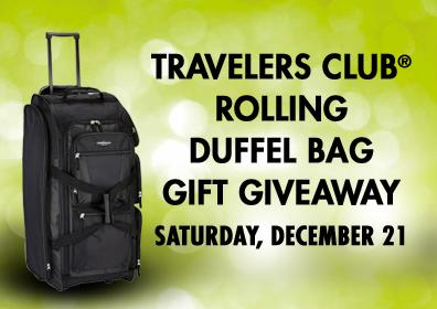 TRAVELERS CLUB ROLLING DUFFEL BAG Gift Giveaway Saturday, December 21