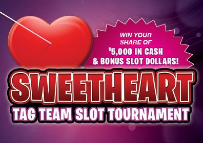 Sweetheart Tag Team Slot Tournament logo - Win your share of $5,000 in Cash & Bonus Slot Dollars