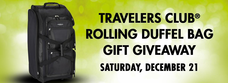 TRAVELERS CLUB ROLLING DUFFEL BAG Gift Giveaway Saturday, December 21