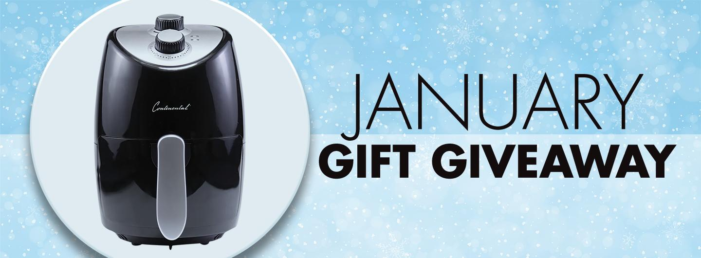 January Gift Giveaway with photo of Air Fryer