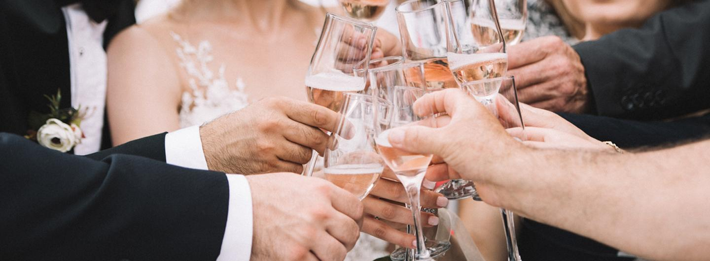 Photo of a wedding toast