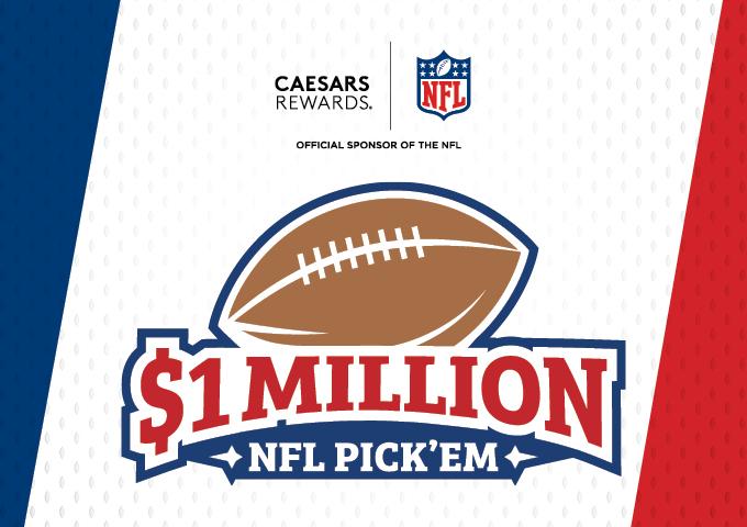 Graphic Design image of Caesars Rewards $1 Million Dollar NFL Pick'Em promotion logo with NFL logo included overlaid on blue, white and red background
