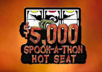 Gradient orange background with graphic design logo overlay reading $5,000 Spook-a-Thon Hot Seat