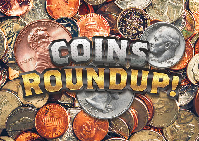 Photo of various US coin denominations with the text overlay reading Coins Round Up