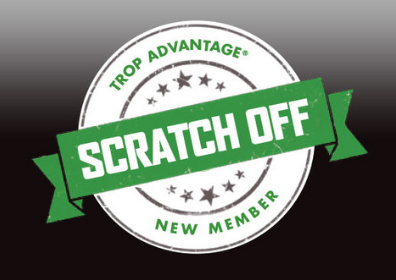 Graphic Design Image of Trop Advantage Players Club New Member Scratch off promotional offer. Image features white and green New Member Scratch off logo on a black gradient background