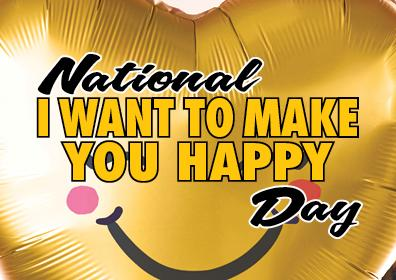 Graphic Image of a happy face for National I Want To Make You Happy Day