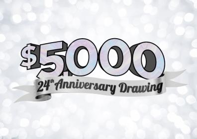 Graphic Design image of light silver sparkled background with silver text overlay reading $5,000 24th Anniversary Giveaway