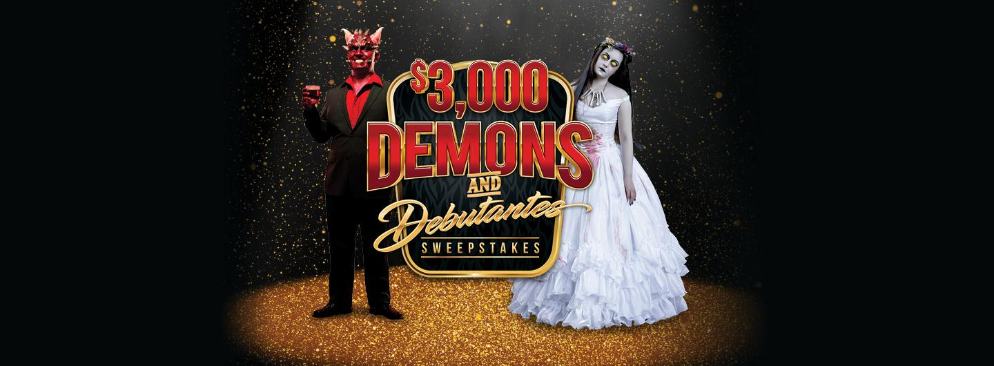 Graphic Design image with demon in tuxedo and corpse bride on black background with logo reading $3,000 Demons and Debutantes Sweepstakes
