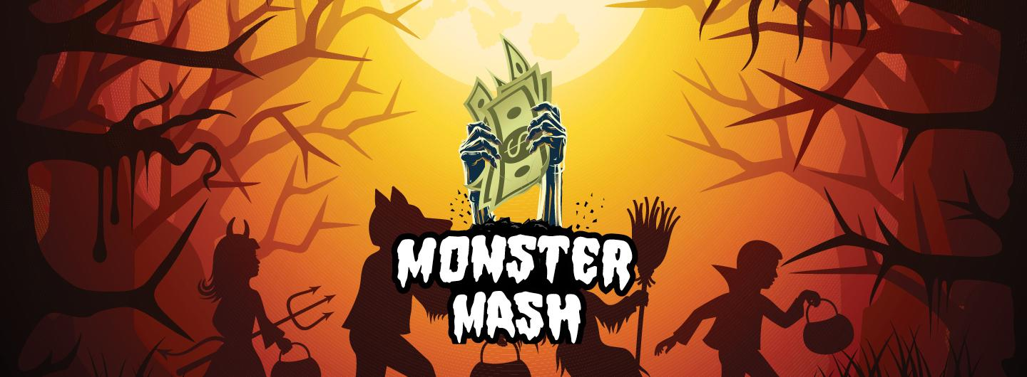 Graphic Design image of spooky forest on orange background with ghoul and goblin shadows holding cash center with logo overlay reading Monster Mash