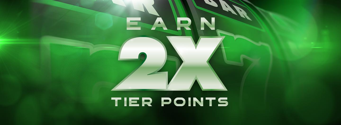 Graphic Design logo reading Earn 2X Tier Points over a green background