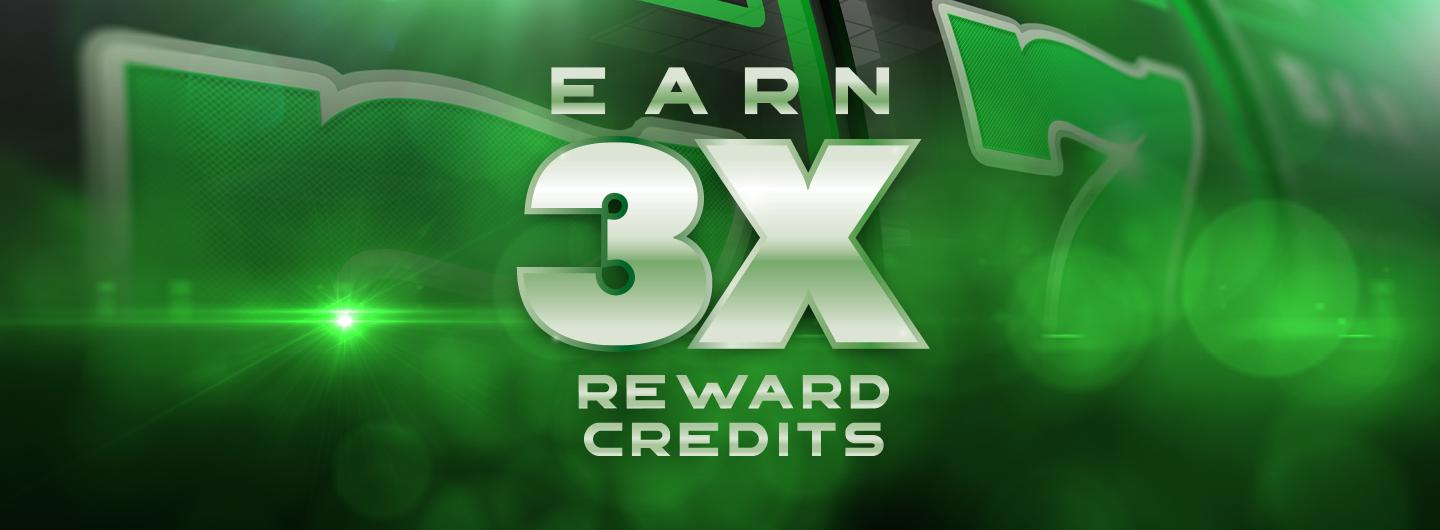 Graphic Design logo reading Earn 3X Reward Credits over a green background