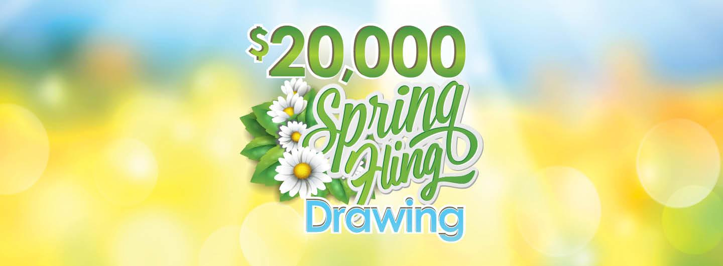 $20K Spring Fling Drawing Logo with Flowers