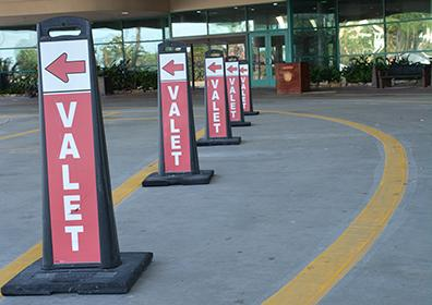Valet cones in front of property