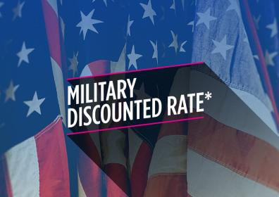 """picture of an american flag with the words """"Military Discounted Rate"""" on top"""