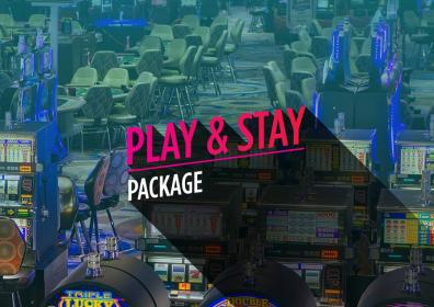 """casino floor picture with the words, """"Play & Stay Package"""" on top"""