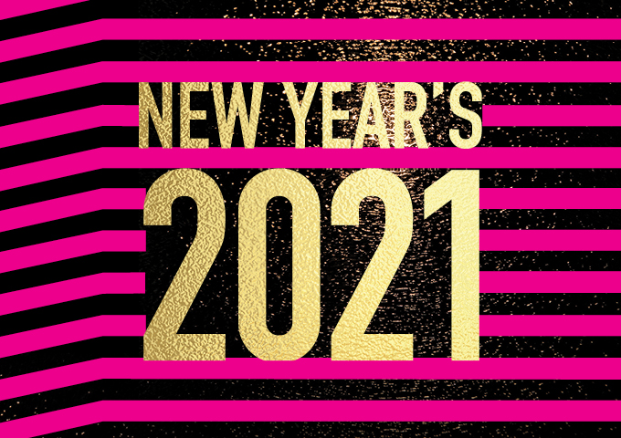 New Years 2021 text with pink and black stripe background