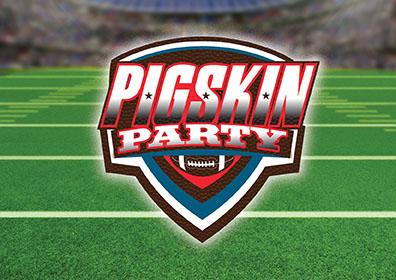 Pigskin Party logo with football field background