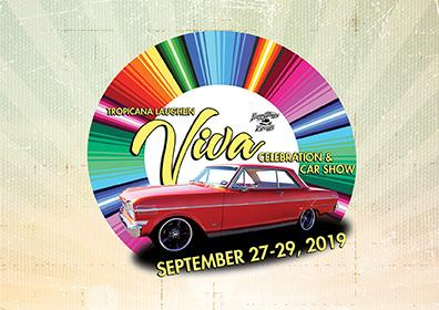Colorful Viva Tropicana Logo with Red Car