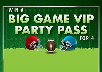 Big Game VIP Party Pass text with football and helmets