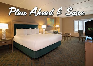Hotel Room with Text saying Plan Ahead and Save