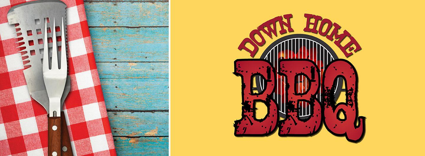 Down Home BBQ logo with grilling tools