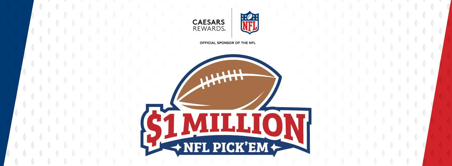 """$1 Million NFL Pick'em promotion with the Caesars Rewards and NFL Logo and text saying, """"Official Sponsor of the NFL"""""""