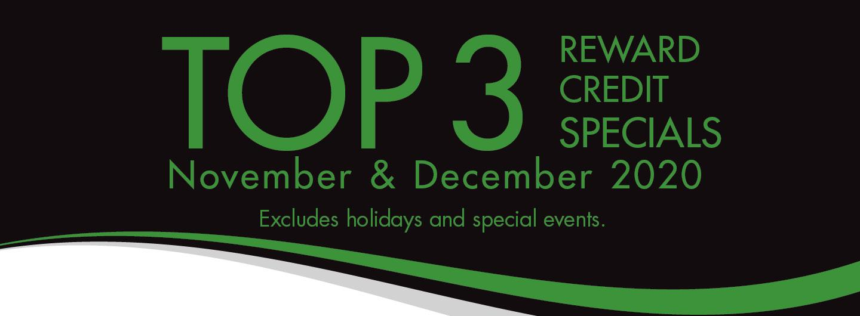Top 3 Reward Credit Dining Specials for November and December 2020