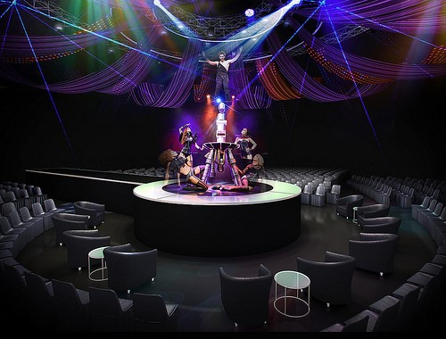 Champagne Seating for Cirque Le Noir