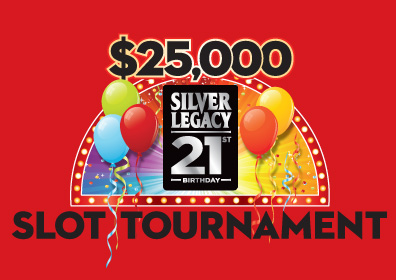 $25,000 Silver Legacy 21st Birthday Slot Tournament Logo with Balloons