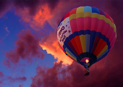 Colorful Hot Air Balloon in Sunset