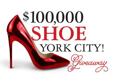$100,000 Shoe York City Giveaway Advertisement with big red high heel shoe