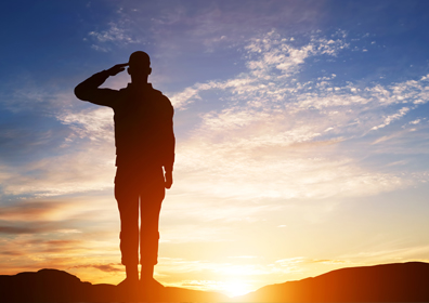 Man in Military Uniform Saluting with Sunset Background