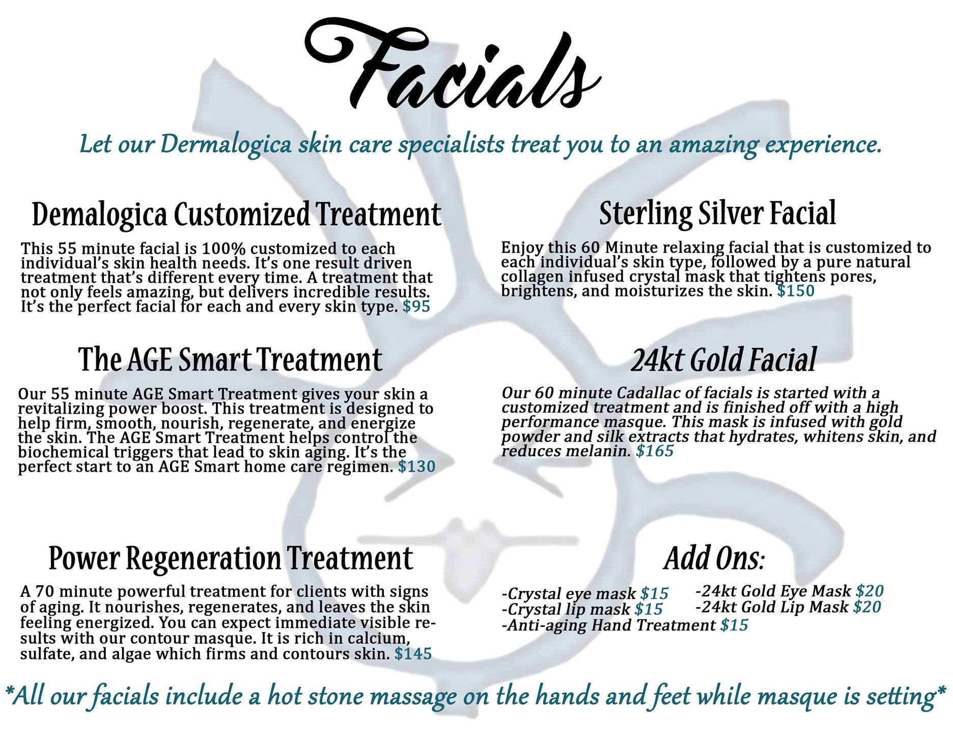 Skin Care Services - Signature Facials & Gentlemens Facial