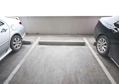An open spot in a parking garage