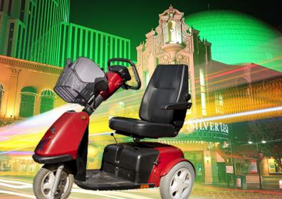 Scooterbug Mobility Chair in Front of Silver Legacy