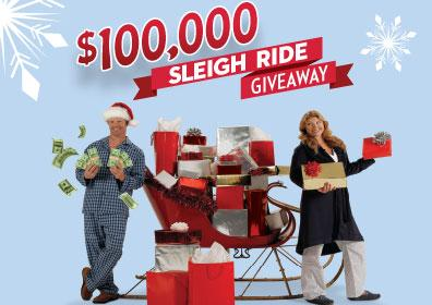 Woman with Present-Filled Sleigh and Man with $15,000 Cash