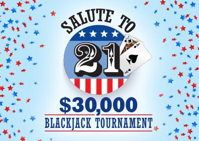 $30,000 Salute to 21 Blackjack Tournament Logo with Red, White and Blue Stars