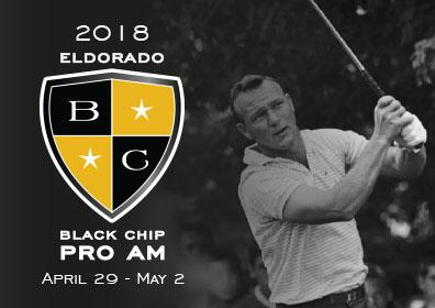 A man playing golf next to the Black Chip logo