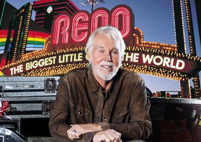 Kenny Rogers in front of the Reno Arch